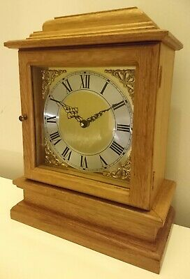 Beautiful Handmade Solid Oak Wooden Mantle Clock Antique Style