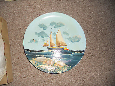 Rare Hand painted vintage Provincetown Ma Souvenir 9 inch Plate shell + sailboat