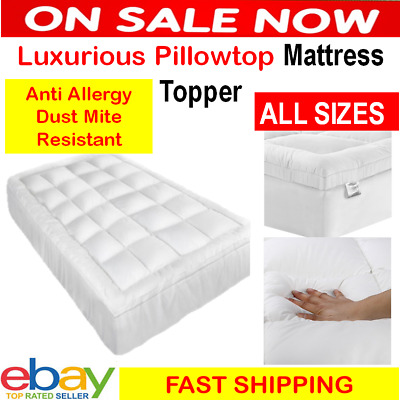 Pillowtop Matress Mattress Topper 1000GSM Protector Pad Cover 45cm Underlay Bed