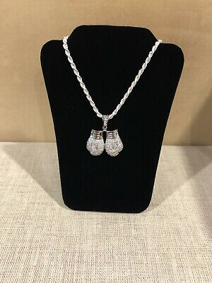 Sterling Silver 925 Cz Pave Set Boxing Glove Pendant 3.8g Rhodium Plated