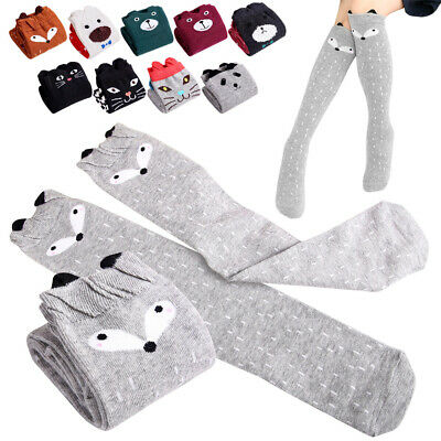 Kids Littel Girls Knee High Stocking Cartoon Animal Warm Socks for Spring Winter