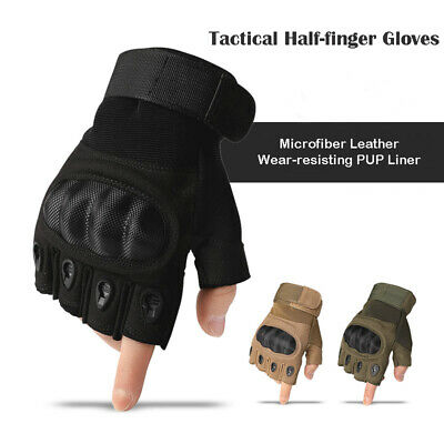 Outdoor Military Tactical Airsoft Hard Knuckle Half Finger Gloves Touch Screen