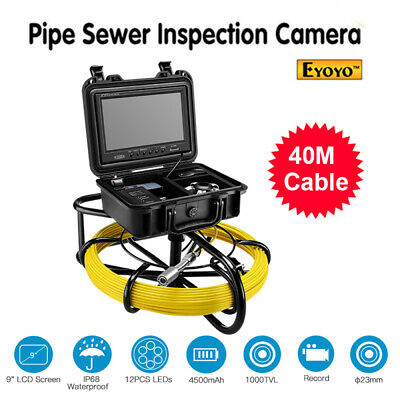 """9"""" 40M 8GB DVR Drain Video Inspection Cleaner φ23mm IP68 Industrial Sewer Camera"""