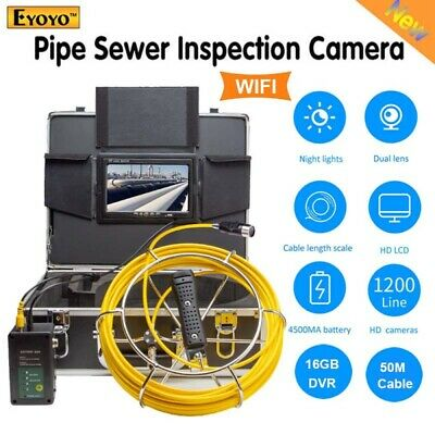 """Eyoyo 50M 16GB DVR Pipeline Under Water Sewer Inspection Camera 7"""" LCD Dual Lens"""