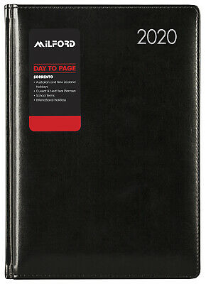 2020 Milford Sorrento Diary A5 Day to Page Black 441020