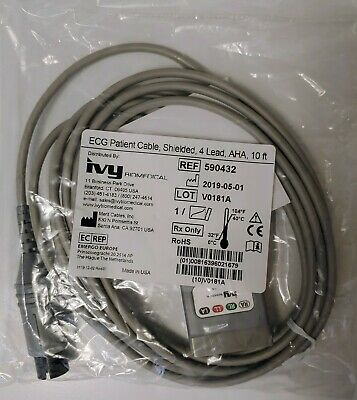 IVY Biomedical Patient Cable, Shielded, 4 Lead, AHA, 10 ft, REF 590432
