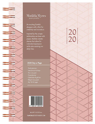 2020 Matilda Myres Rose Gold Foil Diary A5 Day to Page Pink 441649