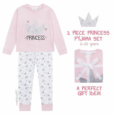 Childrens Girls Princess Crown Heart Pyjama Set 2 Piece 2-6 Years Glitter Cotton
