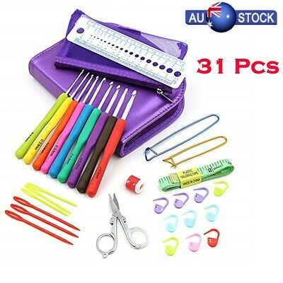 31pcs/Set Crochet Hooks Kit Yarn Knitting Needles Sewing Ergonomic Grip Bag New