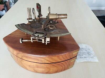 ꙮ Nautical Brass Gift Vintage Maritime Compass/Telescope/Sextant W/Wooden Box