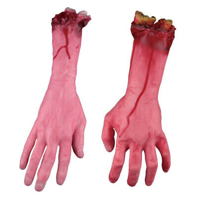 1 Pair Red Horrible Bloody Fake Rubber Severed Body Part Hand Arm Halloween Prop
