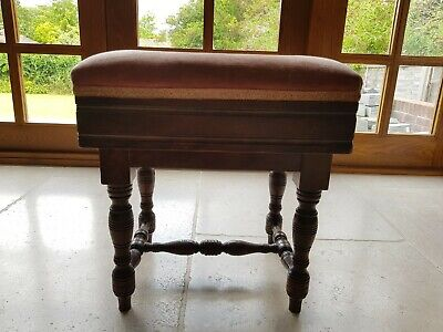 Antique Vintage Wood Piano Stool Adjustable