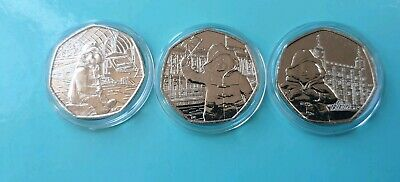 Paddington Bear 50p set - 3 x coin Palace, Station, Tower Uncirc in capsules