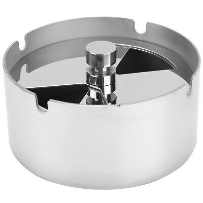 Windproof Round Revolving Ashtray Spinning Tray Stainless Steel Hotel Bedroom GA