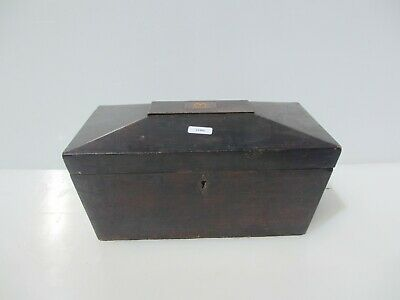 Antique Wooden Box Brass Inlay Straps Storage Old Crate Wood Vintage Sewing Art