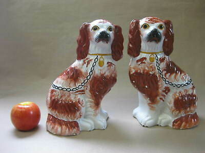Pair of Antique 19th Cent. Staffordshire Spaniel / Wally Dogs ~Red & White 24cm