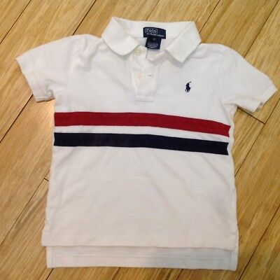 Boys/Baby/Toddler POLO RALPH LAUREN Short Sleeve shirt - Size 4T striped white