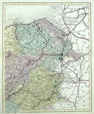 NORTH-EAST WALES , 1869 - Original Hand-coloured Antique County Map -  WALKER