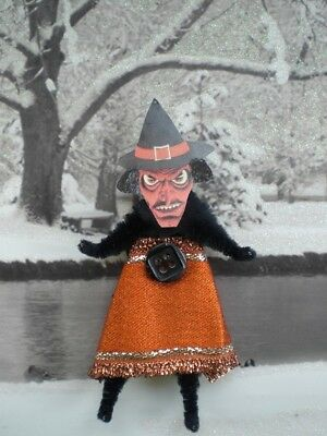 WICKED WITCH Vintage Style Chenille Halloween Ornaments - Set of 2