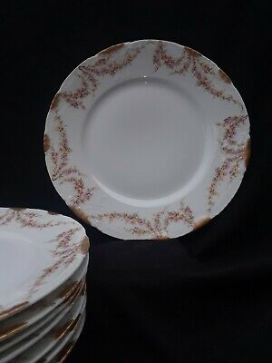 LIMOGES THEODORE HAVILAND Gold PINK Rose Swag Schleiger 145 Luncheon Plates 8pcs