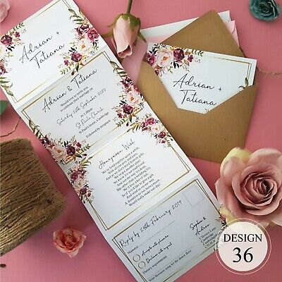 Personalised Wedding Invitations - Concertina Day or Evening Invites + Envelopes