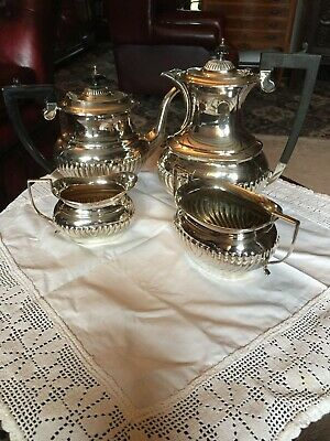 Antique Silver Plate Epns Beautiful Tea Pot Coffee Pot Milk Jug And Sugar Basin