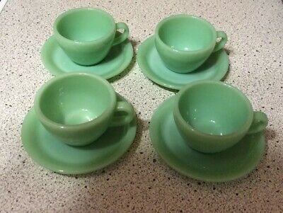 Jadite Green Fire King Oven Ware Restaurant Heavy Cup And Saucer 1 Set
