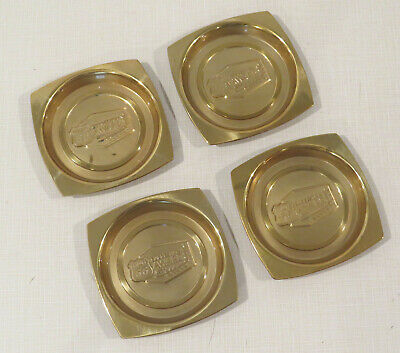 """Set of 4 Vintage Antique Phillips 66 Suggestion Award Brass Coasters - 3.25"""""""