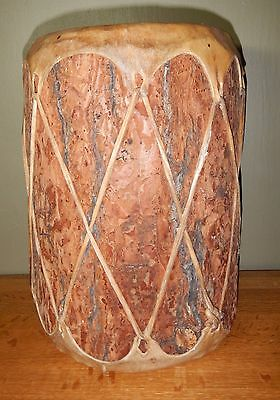 """Natural Log & Rawhide (Leather) Drum - 12"""" tall/8"""" diameter - Handmade in Mexico"""