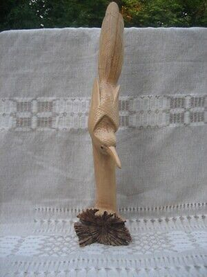 Hand Carved Parasite Wood Diving Bird Sculpture Wooden Hand Made Flying Figurine