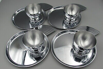 Vintage Art Deco Chrome Chase Cocktail CANAPE Plates & Cups - Set of Four
