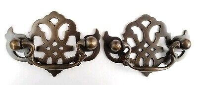 2 Solid Brass American Chippendale BAT WING Drawer Pulls handles Vtg Style #Z3