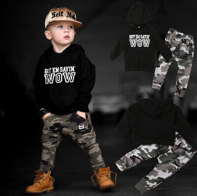 US Kids Baby Boy Hoodie Outfits Sets Sweatshirt + Camo Pants Autumn Clothes Sets