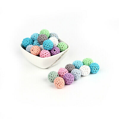 DIY 10PC 16mm Crochet Wooden Beads Ball for Baby Teether Pacifier Chain Necklace