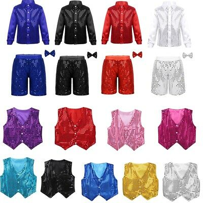 Children Kids Sequins Waistcoat Vest Shorts Boys Jazz Party Dance Show Costumes