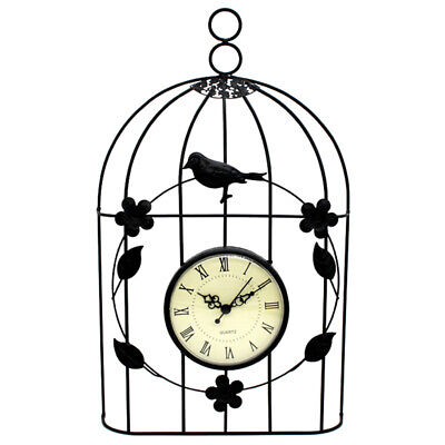 Bird Cage Wall Clock Vintage Antique Style Decor Hanging-S N7P4