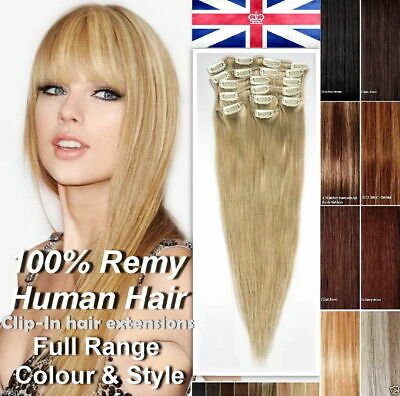 8pcs Full Head Clip in 100% Natural Hair Extensions as Human Long Thick Straight