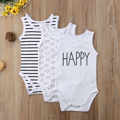New Newborn Baby Boy Girl Stripe Clouds Print Romper Bodysuit Jumpsuit Outfit