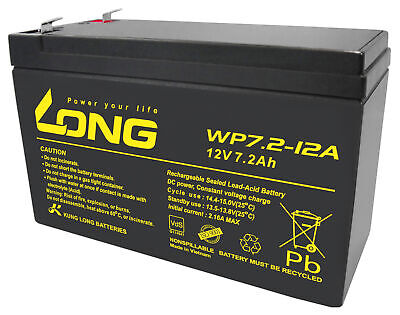 2x Kung Long Vds WP7.2-12A F1, 12V, 7,2 Ah Plomo AGM Batería 4,8mm Faston