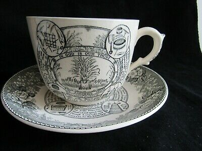 Vintage Adams The Farmers Arms Jumbo Breakfast Cup Saucer Farming Country