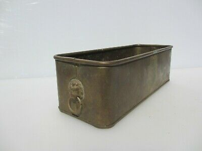Vintage Brass Trough Tub Planter Plant Pot Antique Old Urn Lion Head Handles
