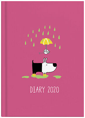 2020 Milford Dog & Bird Diary A5 Week to View Pink 441604
