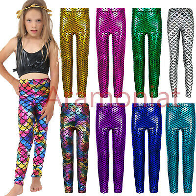 Girls Metallic Fish Scale Leggings Mermaid Kids Shiny Foil Childrens 3-13 Years