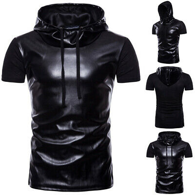 Black Mens Faux Leather Wet Look Sexy T-Shirt Hooded Muscle Sports Top Clubwear