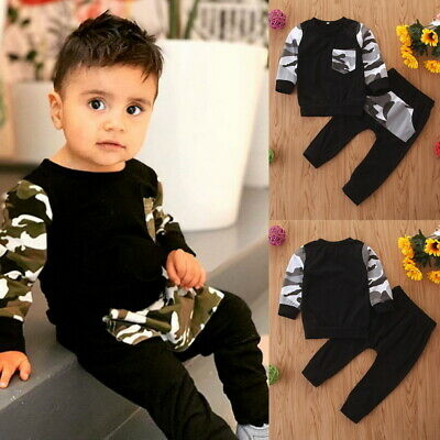 2Pcs Toddler Kids Baby Boy Camouflage Long Sleeve Tops+Pants Outfits Clothes Set