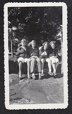 Antique Vintage Photograph Four Young Girls Sitting in Backyard