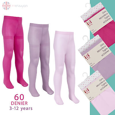 60 Denier Den 1 or 3 Pairs Microfibre Girls Pink Ballet Semi-Opaque Tights