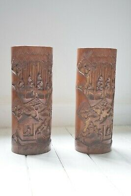 Antique Pair of Chinese bamboo brush pots,Large Bamboo Brush Pots,Hand Carved