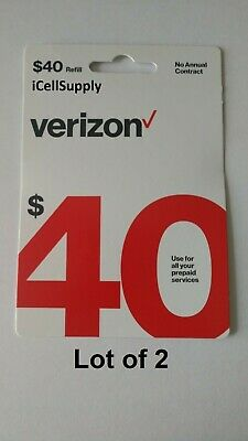 2 -$40 Verizon Wireless Prepaid Refill Card -Fast 30 Minute Delivery 9AM-5PM EST