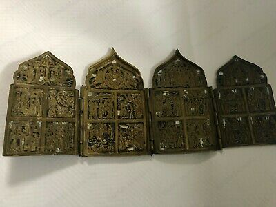 "ANTIQUE RUSSIAN ICON 4-Panel Folding Skladen ""HOLIDAYS""BRONZE 19 CENTURY ENAMEL"
